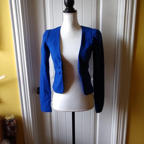 H&M Royal Blue Cropped Rushed Blazer Jacket